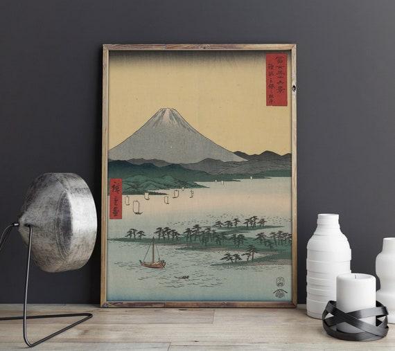 Mihojapan FINE ART PRINT POSTER Japanese 24X36 RIVER SAILBOATS mount fuji