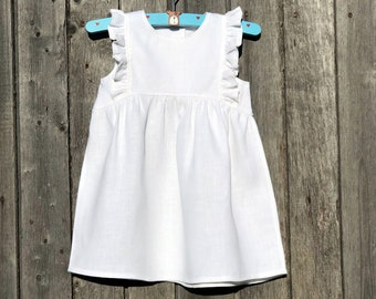 7356ed7890818 Linen Baby Dress White, Girl Linen Ruffle Dress, Sleeveless Linen Dress  Knee Length, White Linen Dress Baby Baptism, Frill Dress Baby Girl