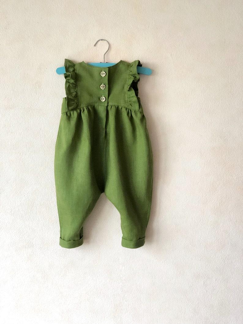 d7ca68315ec2 Green Girl Linen Romper Linen Baby Girl Clothes Baby Girl