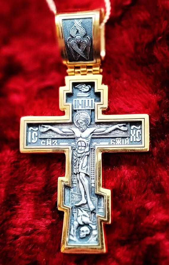 Russian-Greek Vintage Cross Christ Crucifix St Dmitry of Moscow Silver Gold Plated #21.37