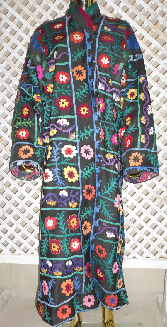 quality kaftan coat chapan suzani pure black size silk handmade high natural embroidery uzbek 592 style colorful jacket unisex Plus elegant qBtawZO