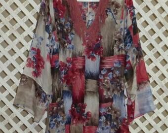 pink uzbek printed natural cotton-silk loose fitting tunic chemise oriental pattern & comfortable 323