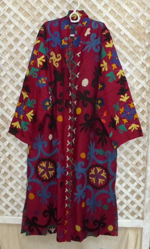 clean size unisex plus coat 522 chapan hand embroidered mint natural original dyed fully vintage classic kaftan Uzbek condition jacket 4xEqwv1X