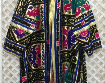 Plus size black high quality unisex uzbek colorful pure natural silk handmade embroidery jacket chapan elegant kaftan coat suzani style 591 jncHp8oJP