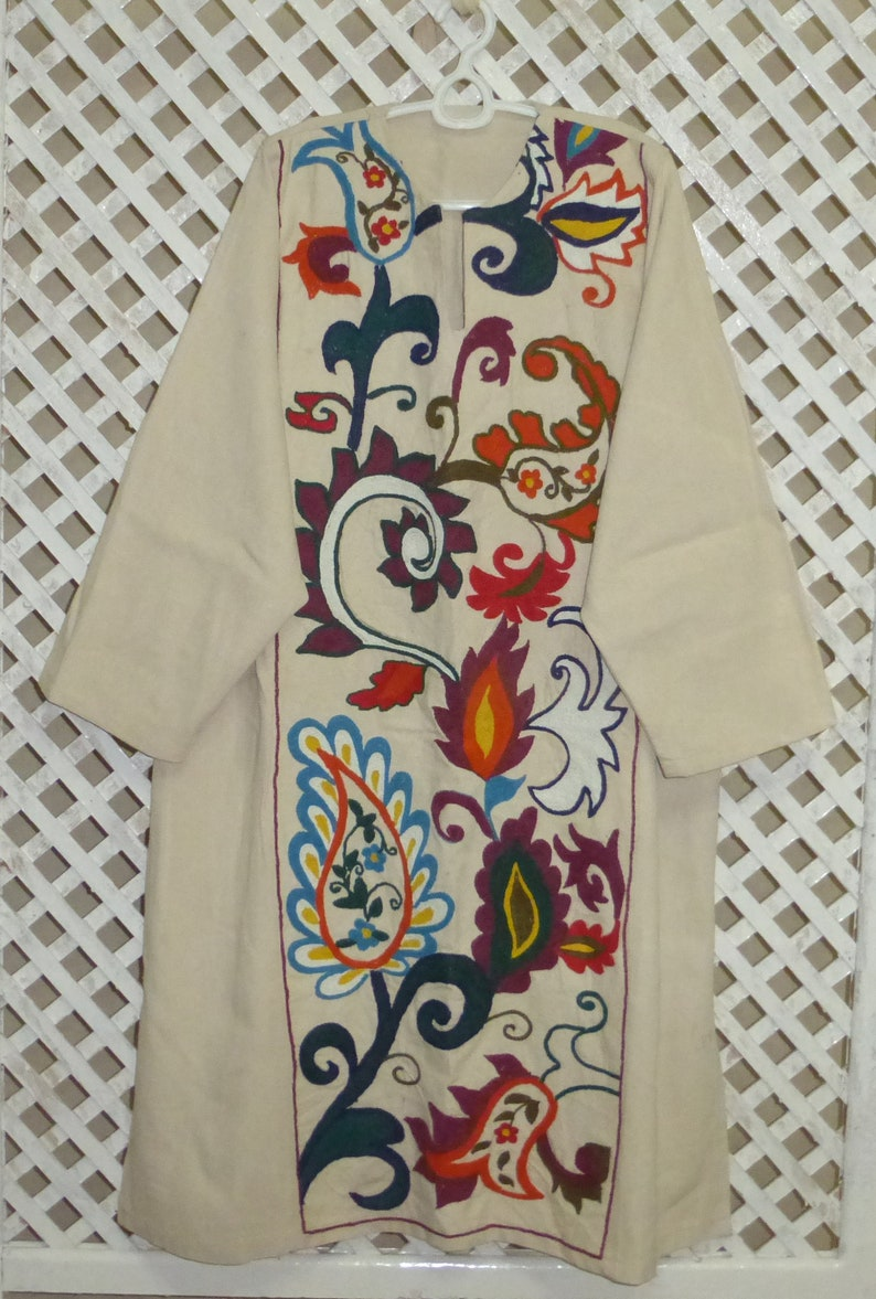 colorful original vintage mint condition colorful natural silk hand embroidered Uzbek dress tunic suzani style from Bukhara 279