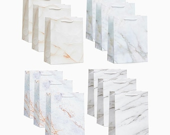 12 Pack Medium Size 4 Designs Marble Print Gift Bags