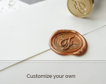 Customized Wax Seal Stamp with Complimentary Two Rusty Gold Wick Wax Sticks, Gift Set