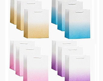 12 Pack Medium Size 4 Designs Ombre Glitter Fancy Gift Bags