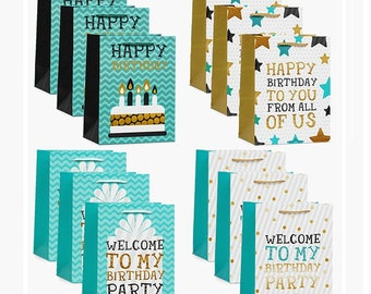 12 Pack Medium Size 4 Designs Happy Birthday Gift Bags