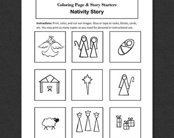 Nativity Story Stones Images, Nativity Scene Coloring Page, Create Your Own Story Stones, Birth of Jesus Story, Nativity Story Starters