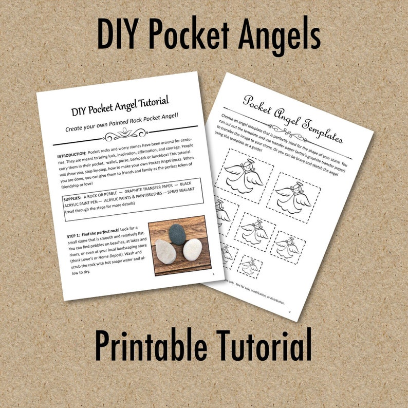 picture regarding Pocket Pattern Printable named Do-it-yourself Pocket Angel Guideline, Printable Painted Rock Behavior, Downloadable Template for Pocket Angels, Pocket Rock Portray Guidelines