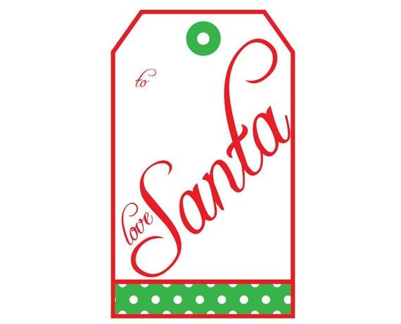 santa gift tags gift tag from santa christmas present tags etsy