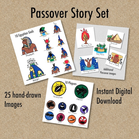 Passover Story, Set of 25 images, 10 Plagues of Egypt, 10 Egyptian Gods,  Moses, Burning Bush, Bible stories, Printable Pages, Instant Downlo