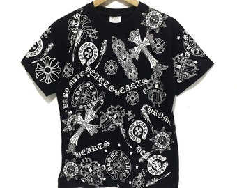 7c7cc8a24ef1 Vintage CHROME HEARTS FOTI Crosses Full Print Gothic Tee Shirt Made In usa  Top