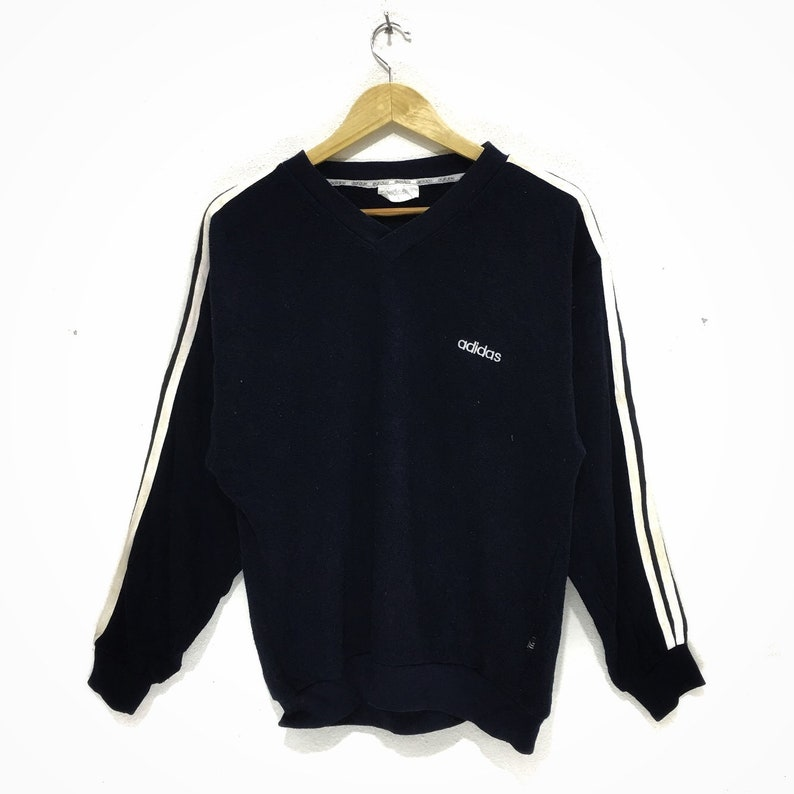 ADIDAS Three Stripes V Neck Sweater Sweatshirt Jumper Pullover Running Gym Originals Trefoil