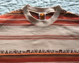 Vintage 70s HANG TEN USA Animals Zoo Aztec Knit Colorblock Striped M Tee Shirt