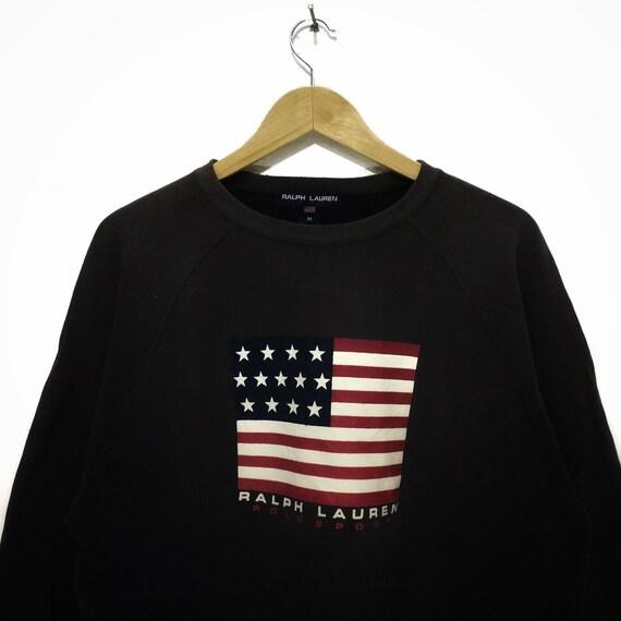 Vintage POLO SPORT Ralph Lauren Flag Logo Crewneck Sweatshirt Sweater Jumper Pullover Made In USA Bear Country Stadium Olympic