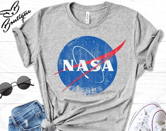 3d402938efa6 Women's NASA Logo T-Shirt in Black for Women - Women's NASA Distressed Shirt  - Space Shirts - Nasa Space Tees, NASA Shirt for Women