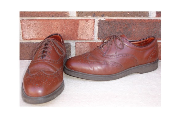 Mens Giovanni 8 12 D Brown Wingtip Lace Up Oxford Dress Shoes USA Made
