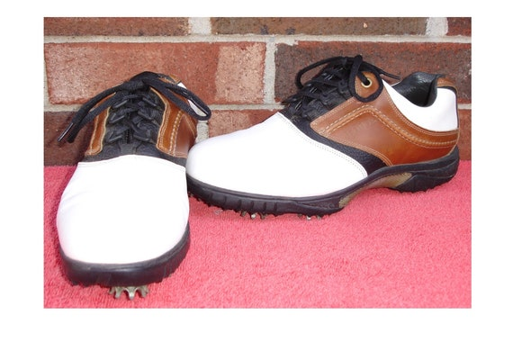 Mens Footjoy 9 W Soft Spike Contour Golf Shoes White Brown Etsy