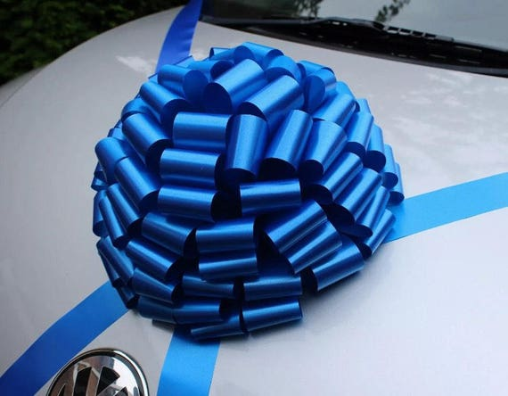 30cm GIANT Car bow Large present bow Birthday Boy Party Decor ROYAL BLUE//WHITE