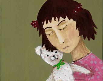 Girl with teddy- acrylic/collage art print