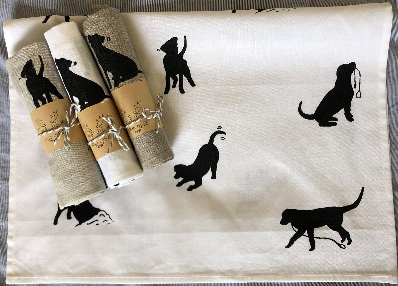 Labrador print tea towel