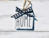 Home Rae Dunn inspired little mini Wooden tag sign with buffalo check bow