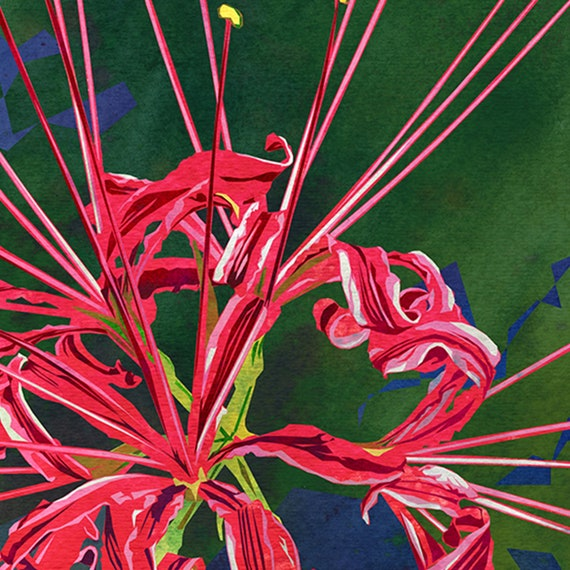 Red Spider Lily Art Abstract