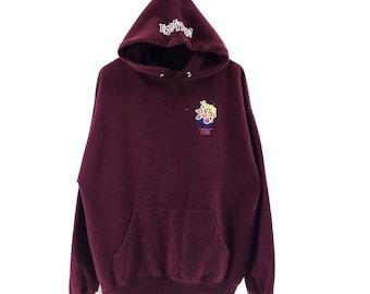 Rare!!! Vintage 90s Erosty Pop LA By Rockin Jelly Bean Hoodie Sweater Jumper Pullover Big Logo Fronts Sportswear Streetwear Activewear