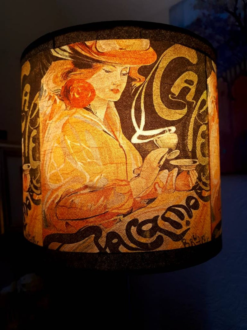 French Handmade Decoupage Bedside Table Lamp Coffee Woman Cafe image 0
