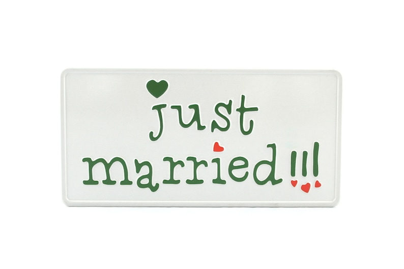 Just Married US USA License Plate Number Plate Embossed Alu Made in Germany Express Shipping