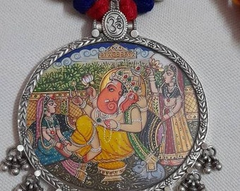 Handmade Ganesha Pendant 92.5 Sterling Silver Pendant Hand Painted Miniature Painting Hindu God of Sucsess Ganesha Glass framed Pendant