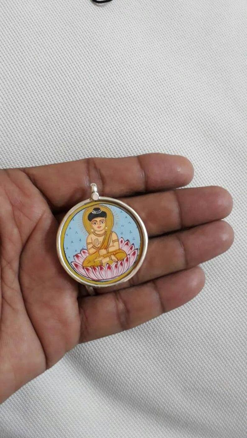 Handmade Pendant 92.5 Sterling Silver Pendant Hand Painted Miniature  Painting Pendant Hindu  Ideal God Budha Glass Framed Artisan Pendant