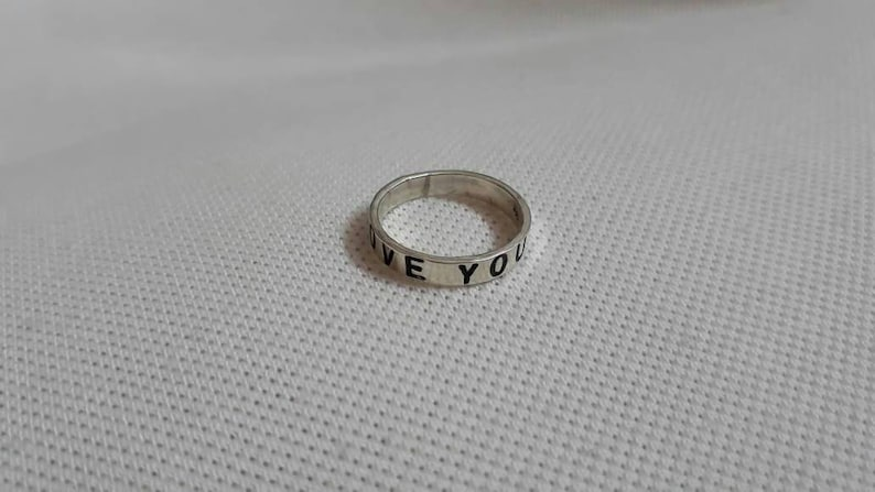 Handmade Ring 92.5 Sterling Silver Ring 5 14 US Size Ring I LOVE YOU Ring Valentine Gift Ring Engagement Ring Love Symbole Artisan Ring