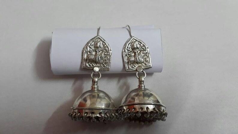 Handmade Earrings 92.5 Sterling Silver Hindu Warrior Lion Riding Mahavidhya Goddess maa Durga Rajasthan Tribal Chandelier Jhumka Earrings