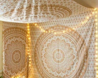 Wall Tapestry Mandala Wall Hanging Wall Decor Bohemian Wall Tapestries Gold  Wall Art Boho Decor Bedroom