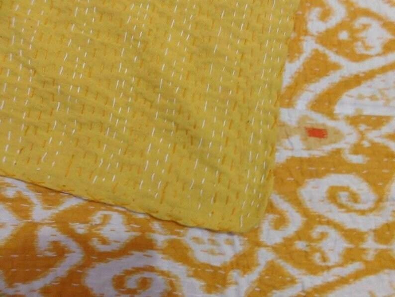 Ikat kantha quilt  Kantha Throw Vintage Blanket Bedspread Coverlet Indian Kantha Quilt Queen Kantha Throw