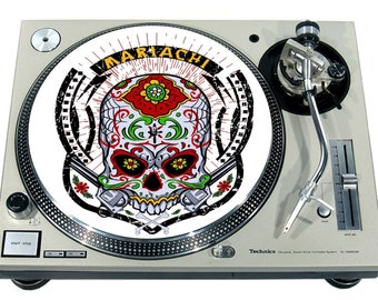 Slipmat Slip Mat Scratch Pad Felt For Any 12 Or 7 LP DJ Vinyl Turntable Record Player Custom Graphical Skull Tattoo