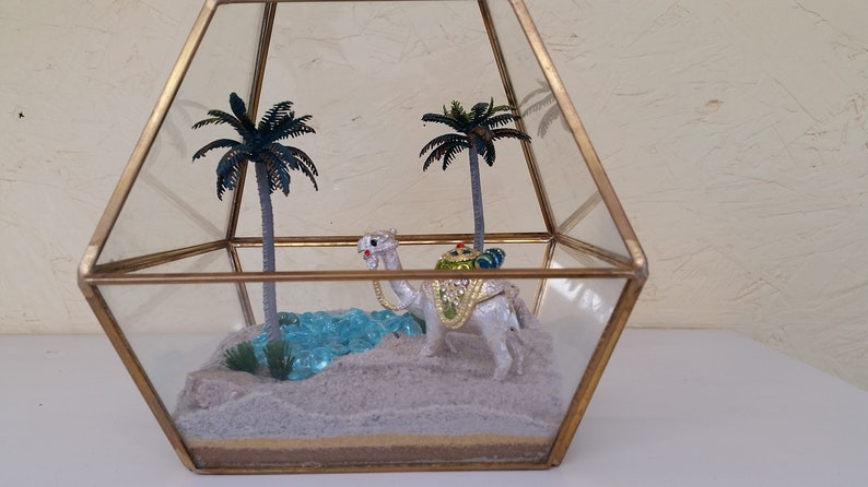 Fairy Garden kit /Miniature jeweled camel with oasis