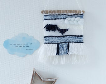 Weaving wall Navy Blue & white (small)