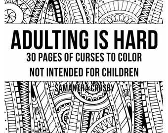 Digital Download Adult Coloring Book Printable Pages Instant Swear Word Curse