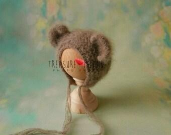 BEAR HAT fuff woolen hat bonnet photo props photography props sitter nb