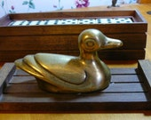Vintage Cardinal Domino Full Set in Wood Box, with Brass Duck, trinket box, jewelry box, Free Shipping