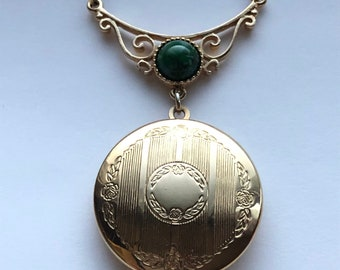 Lady Coventry Vintage Gold Tone Locket with Green Stone Pendant Necklace