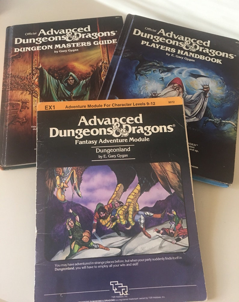 DD Advanced Official Dungeon Dragons Dungeon Masters Guide Players Handbook  and Fantasy Adventure Module Dungeonland by Gary Gygax