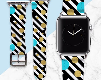 Stripes Apple Watch Band 38mm Mens Gift Leather Watch Strap iWatch 42mm Band Geometry Watch Band Wriswatch Bracelet Custom Watch Band PD0043
