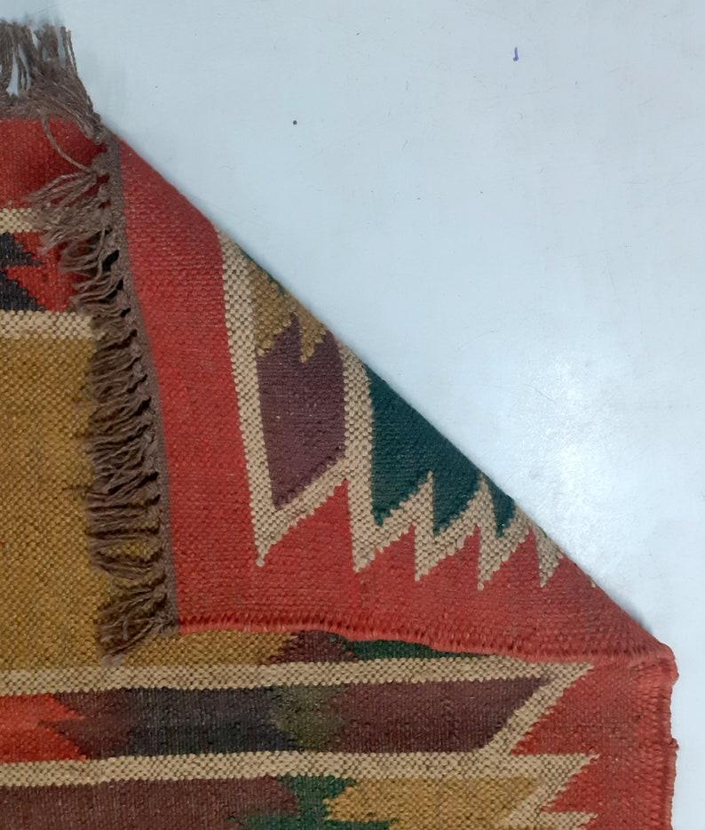 2.6X6 Sq.Ft Handmade Handicraft Textiles Designer Wool Jute Rugs Carpet Traditional Bhomian Killim Doormats Indoor outdoor floor rug mats