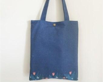 Tote Bag- Blue flowers