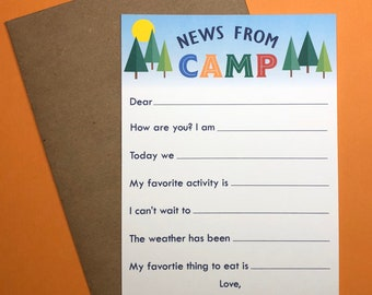 Camp Stationery, Camp News, Notecard, Personalized Stationery, Notecards